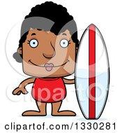 Cartoon Happy Block Headed Black Woman Surfer