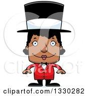 Cartoon Happy Block Headed Black Woman Circus Ringmaster