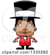 Clipart Of A Cartoon Happy Block Headed Black Woman Circus Ringmaster Royalty Free Vector Illustration