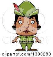 Cartoon Happy Block Headed Black Robin Hood Woman