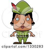 Clipart Of A Cartoon Happy Block Headed Black Robin Hood Woman Royalty Free Vector Illustration