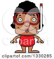 Cartoon Happy Block Headed Black Woman In Snorkel Gear