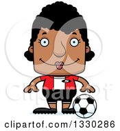 Clipart Of A Cartoon Happy Block Headed Black Woman Soccer Player Royalty Free Vector Illustration