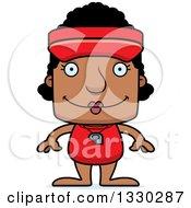 Clipart Of A Cartoon Happy Block Headed Black Woman Lifeguard Royalty Free Vector Illustration
