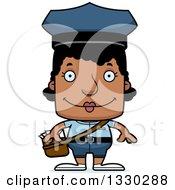 Cartoon Happy Block Headed Black Mail Woman