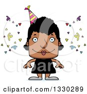 Clipart Of A Cartoon Happy Block Headed Black Party Woman Royalty Free Vector Illustration