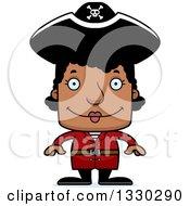Cartoon Happy Block Headed Black Woman Pirate