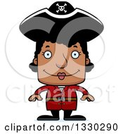 Clipart Of A Cartoon Happy Block Headed Black Woman Pirate Royalty Free Vector Illustration by Cory Thoman