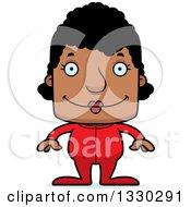 Cartoon Happy Block Headed Black Woman In Pajamas