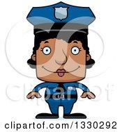 Cartoon Happy Block Headed Black Woman Police Officer