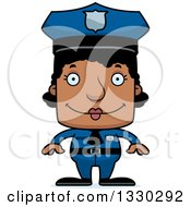 Clipart Of A Cartoon Happy Block Headed Black Woman Police Officer Royalty Free Vector Illustration by Cory Thoman
