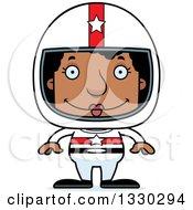 Cartoon Happy Block Headed Black Woman Race Car Driver
