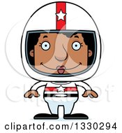 Clipart Of A Cartoon Happy Block Headed Black Woman Race Car Driver Royalty Free Vector Illustration