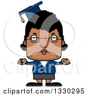 Clipart Of A Cartoon Mad Block Headed Black Woman Professor Royalty Free Vector Illustration by Cory Thoman