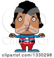 Clipart Of A Cartoon Mad Block Headed Black Woman Super Hero Royalty Free Vector Illustration
