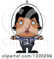 Clipart Of A Cartoon Mad Block Headed Black Futuristic Space Woman Royalty Free Vector Illustration