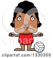 Clipart Of A Cartoon Mad Block Headed Black Woman Beach Volleyball Player Royalty Free Vector Illustration