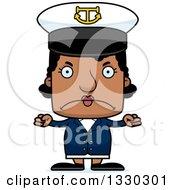 Cartoon Mad Block Headed Black Woman Boat Captain