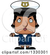 Clipart Of A Cartoon Mad Block Headed Black Woman Boat Captain Royalty Free Vector Illustration by Cory Thoman