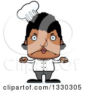 Clipart Of A Cartoon Mad Block Headed Black Woman Chef Royalty Free Vector Illustration
