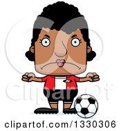 Cartoon Mad Block Headed Black Woman Soccer Player
