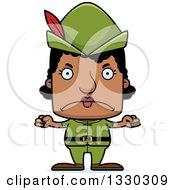 Cartoon Mad Block Headed Black Robin Hood Woman