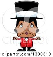 Cartoon Mad Block Headed Black Woman Circus Ringmaster