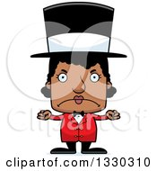 Clipart Of A Cartoon Mad Block Headed Black Woman Circus Ringmaster Royalty Free Vector Illustration