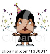 Clipart Of A Cartoon Mad Block Headed Black Party Woman Royalty Free Vector Illustration