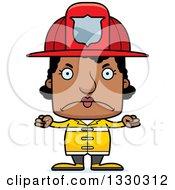 Cartoon Mad Block Headed Black Woman Firefighter