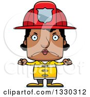Clipart Of A Cartoon Mad Block Headed Black Woman Firefighter Royalty Free Vector Illustration by Cory Thoman