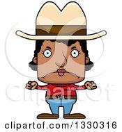 Cartoon Mad Block Headed Black Woman Cowboy
