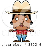 Clipart Of A Cartoon Mad Block Headed Black Woman Cowboy Royalty Free Vector Illustration