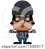 Clipart Of A Cartoon Mad Block Headed Black Woman Robber Royalty Free Vector Illustration