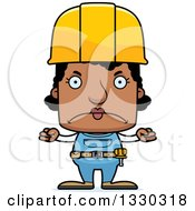 Cartoon Mad Block Headed Black Woman Construction Worker