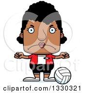 Cartoon Mad Block Headed Black Woman Volleyball Player