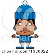 Cartoon Mad Block Headed Black Woman In Winter Clothes