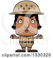Clipart Of A Cartoon Mad Block Headed Black Woman Zookeeper Royalty Free Vector Illustration
