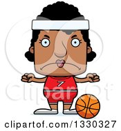 Clipart Of A Cartoon Mad Block Headed Black Woman Basketball Player Royalty Free Vector Illustration by Cory Thoman