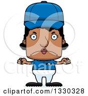 Cartoon Mad Block Headed Black Woman Baseball Player