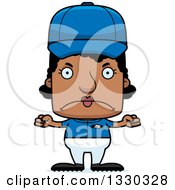 Clipart Of A Cartoon Mad Block Headed Black Woman Baseball Player Royalty Free Vector Illustration