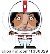 Cartoon Mad Block Headed Black Woman Race Car Driver