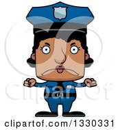 Clipart Of A Cartoon Mad Block Headed Black Woman Police Officer Royalty Free Vector Illustration by Cory Thoman