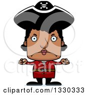 Clipart Of A Cartoon Mad Block Headed Black Woman Pirate Royalty Free Vector Illustration by Cory Thoman