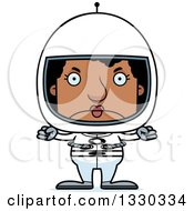 Clipart Of A Cartoon Mad Block Headed Black Woman Astronaut Royalty Free Vector Illustration by Cory Thoman