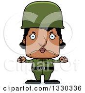 Cartoon Mad Block Headed Black Woman Soldier
