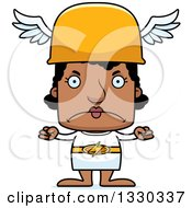 Clipart Of A Cartoon Mad Block Headed Black Woman Hermes Royalty Free Vector Illustration