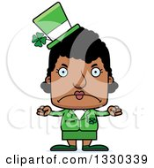 Clipart Of A Cartoon Mad Block Headed Black St Patricks Day Woman Royalty Free Vector Illustration by Cory Thoman