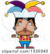 Clipart Of A Cartoon Mad Block Headed Black Woman Jester Royalty Free Vector Illustration by Cory Thoman