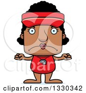 Clipart Of A Cartoon Mad Block Headed Black Woman Lifeguard Royalty Free Vector Illustration by Cory Thoman